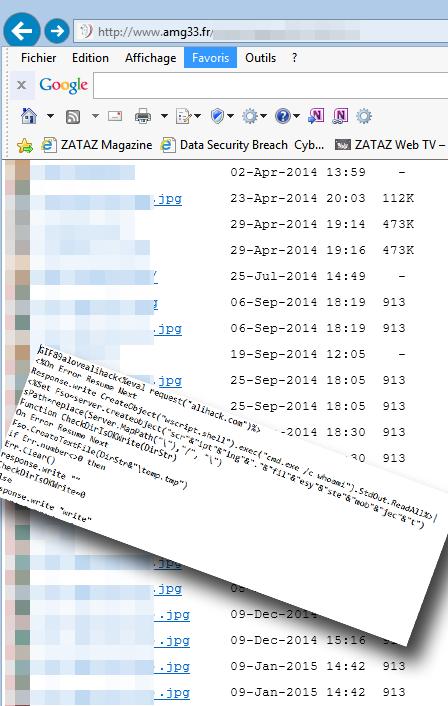 Dans les fichiers, de faux .jpg, mais vrais codes malveillants comme des backdoor.