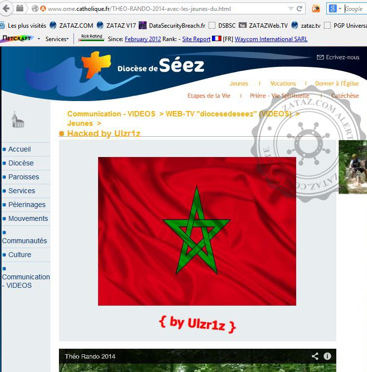 Le pirate a laissé son pseudo et le drapeau Tunisien dans les sites visités.