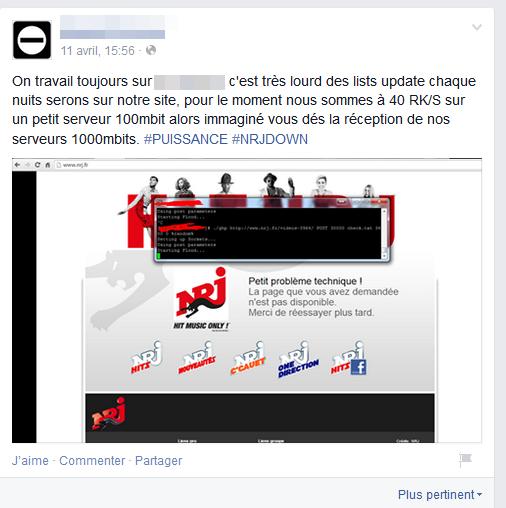 NRJ a servi d'essai pour annoncer la commercialisation de possibilités DDoS plus importantes à l'avenir !