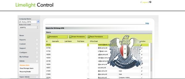 L'accès à certaines commandes du site Army.mil.