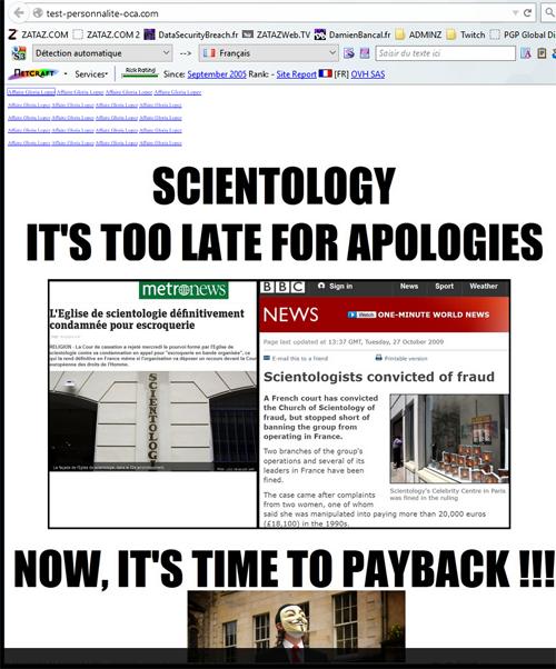Anonymous a diffusé des articles de presse concernant les affaires judiciaires de la secte.