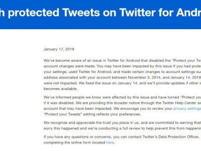Alert twitter data leak