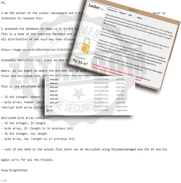 Le ransomware c'est activé le 25 mai. L'auteur indique qu'il rendra les données chiffrées ce 2 juin 2015.