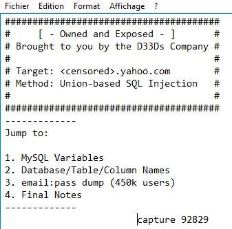 En 2012, je vous révélais la diffusion de cette BDD de plus de 400.000 comptes Yahoo!
