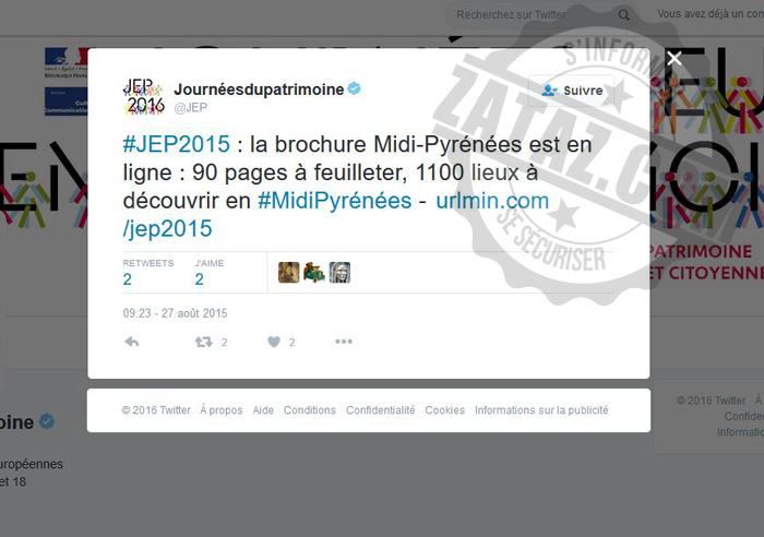 Le compte Twitter des Journées Européennes du Patrimoine 2016 a diffusé l'url malveillante.
