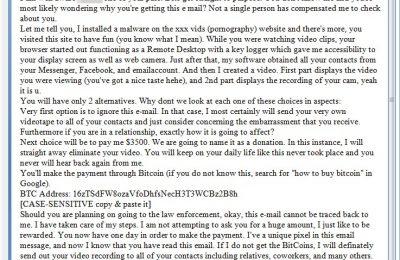 Escroquerie - Plusieurs dizaines de lecteurs de ZATAZ m'ont alerté d'un étrange courriel reçu. Il contient le mot de passe des cibles et réclame de l'argent pour ne pas en divulguer plus. ZATAZ va vous expliquer le fond de l'arnaque.