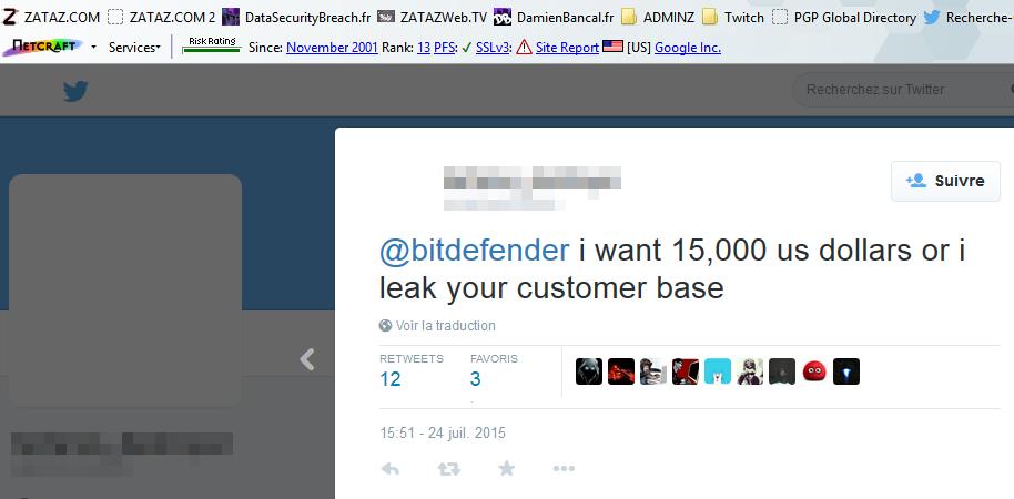 Le 24 juillet, le pirate a réclamé 15.000 dollars à Bitdefender.