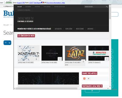 Autre exemple d'attaque XSS : affichage d'un site, dans la page officielle. Cela aurait pu être un phishing ciblé.