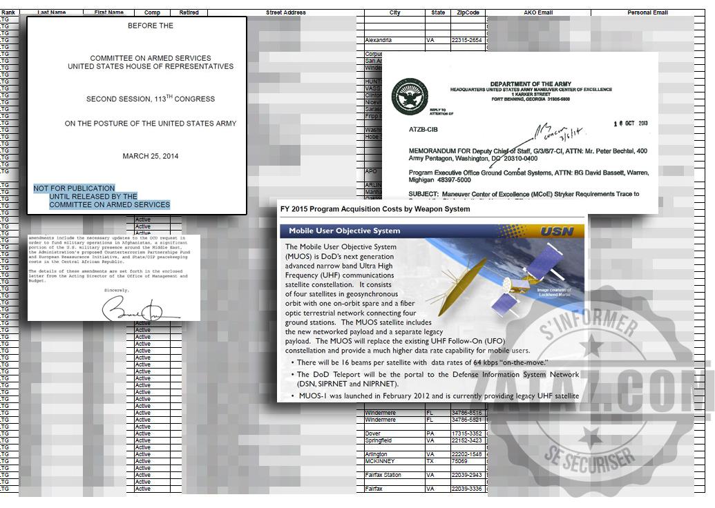Extraits des documents diffusés par les pirates. Certains sont accessibles sur la toile, via Google... sans piratage !