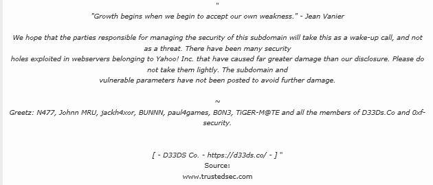 Le message diffusé, en 2012, après le piratage d'un sous-domaine de Yahoo!