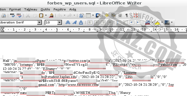 Plus de 18,000 pages de logins, mots de passe, mails, identités, ... volées chez Forbes en juin 2014.