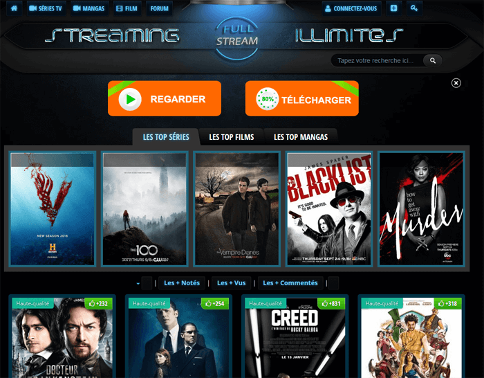 Le portail Full Stream proposent des centaines de films et séries TV piratés.