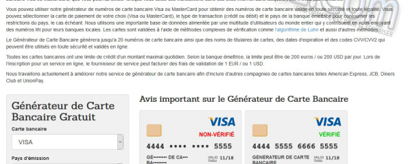 Générateur de cartes bancaires gratuit