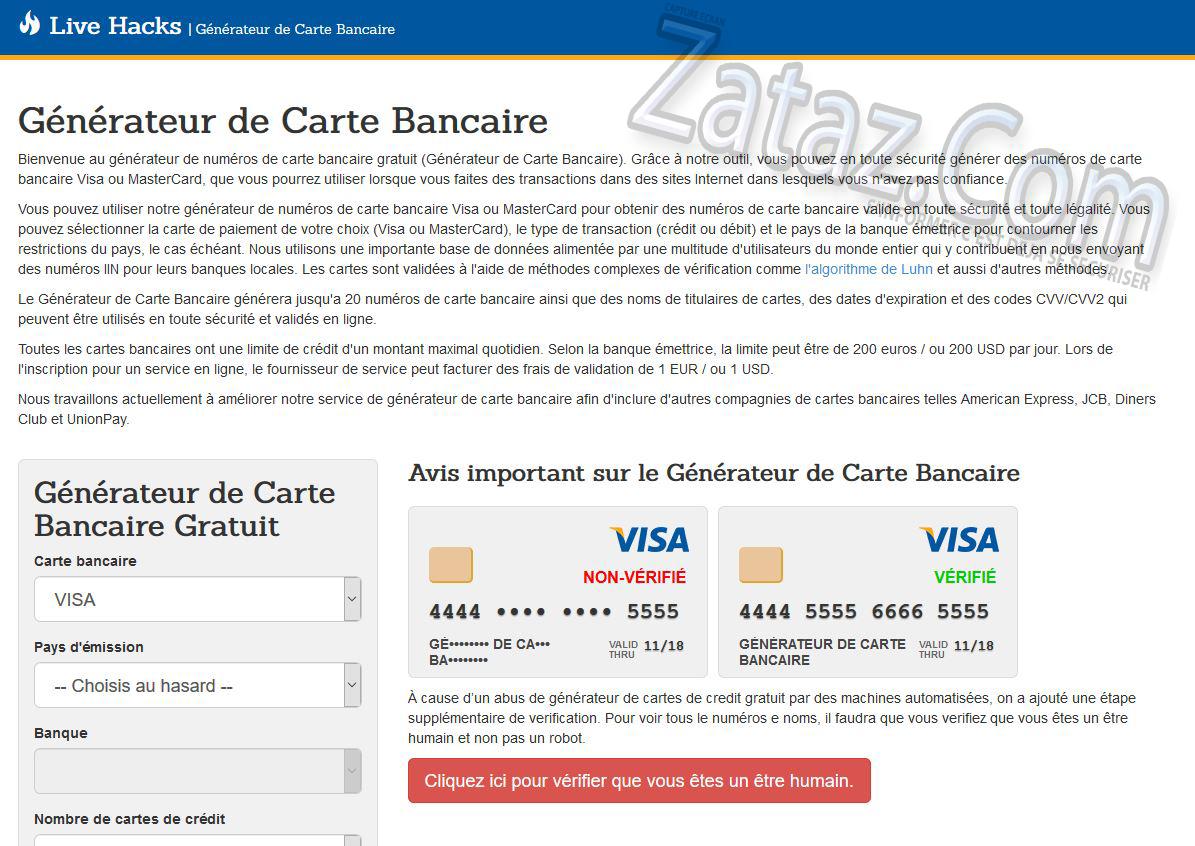 carte bancaire gratuite generateur ZATAZ » Générateur de Carte Bancaire gratuit… ou pas !