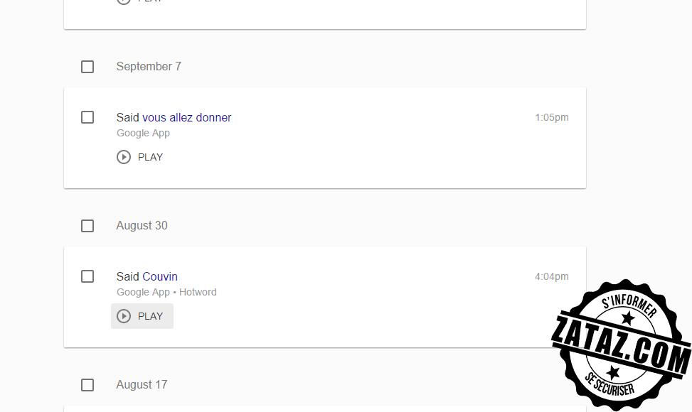 Les voix et les questions sont sauvegardées par Google.