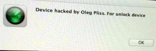 Message pirate annonçant le détournement de l'appareil