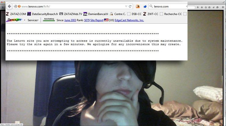 Des images d'une webcam d'un adolescent et son chien et le site Lenovo obligé de fermer.