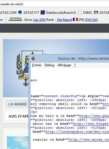 Dans le code source, certaines mairies françaises affichent des dizaines de liens pirates.