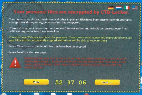 La fenêtre du pirate s'affiche à l'écran de l'ordinateur infecté.