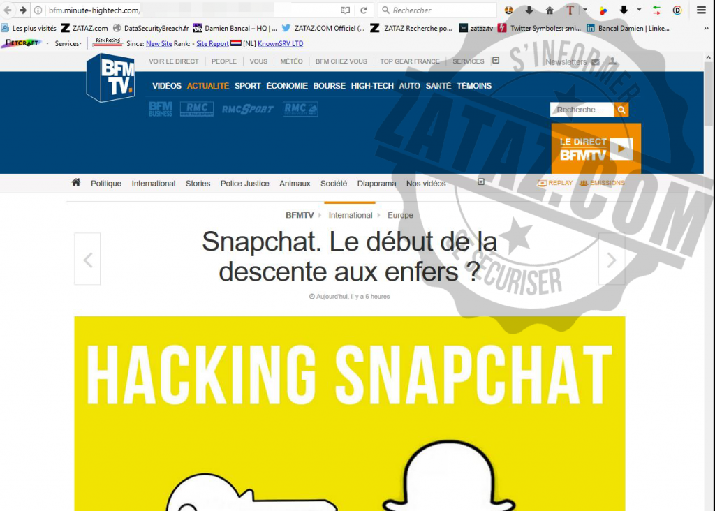 faux article BFM snapchat arnaque
