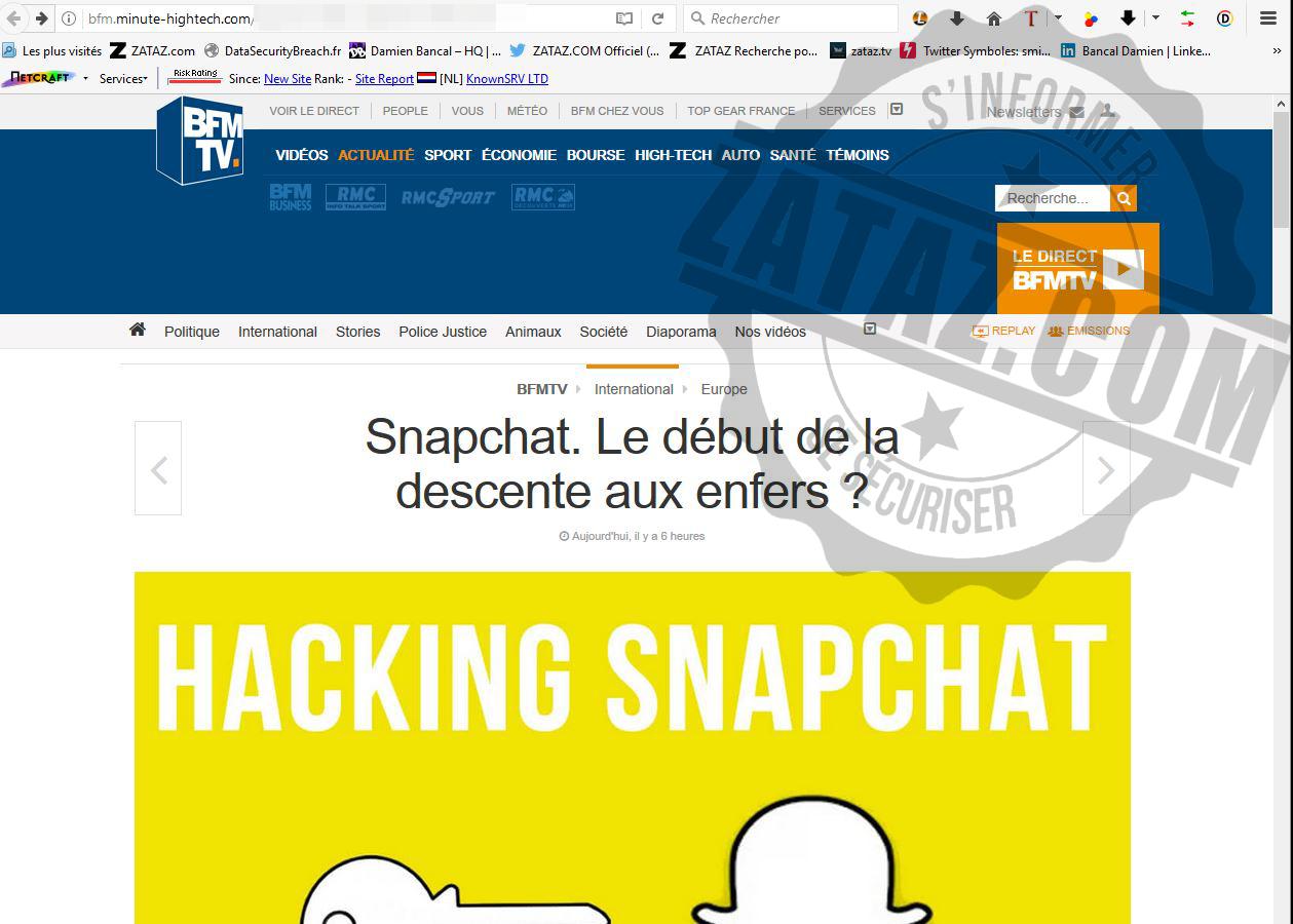 ZATAZ Le fake du piratage des photos Snapchat - ZATAZ